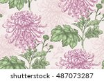 vector seamless floral pattern. ... | Shutterstock .eps vector #487073287