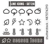 icons set season line black...