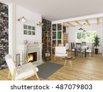 interior of living room with... | Shutterstock . vector #487079803