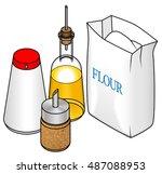 concept  fast food ingredients. ... | Shutterstock .eps vector #487088953