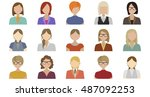 people avatars in flat style.... | Shutterstock .eps vector #487092253