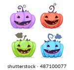 vector halloween illustration... | Shutterstock .eps vector #487100077