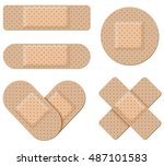 antiseptic band aid vector set... | Shutterstock .eps vector #487101583