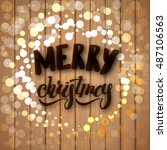 merry christmas card with hand... | Shutterstock .eps vector #487106563