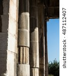 Small photo of Doric columns details of the temple of Hephaestus in Ancient Agora, Athens, Greece