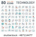 set vector line icons in flat... | Shutterstock .eps vector #487114477