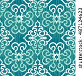 seamless damask pattern... | Shutterstock .eps vector #487124623