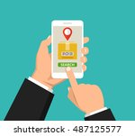 hand holding smartphone with... | Shutterstock .eps vector #487125577