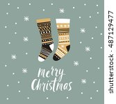 christmas card   christmas... | Shutterstock .eps vector #487129477