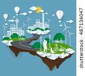 the concept of city go green... | Shutterstock .eps vector #487136047