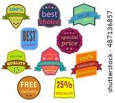 set of ten vector badges with... | Shutterstock .eps vector #487136857