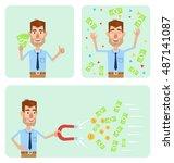 set of businessman characters... | Shutterstock .eps vector #487141087