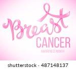 breast cancer awareness poster  ... | Shutterstock .eps vector #487148137
