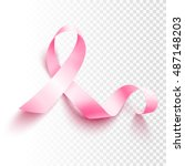Realistic Pink Ribbon  Breast...