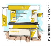 yellow exhibition stand design. ... | Shutterstock .eps vector #487149847