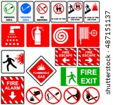 fire emergency signs. vector... | Shutterstock .eps vector #487151137