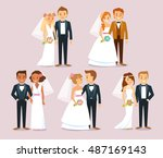 wedding couples | Shutterstock .eps vector #487169143