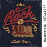 rock and roll typography.... | Shutterstock .eps vector #487169377