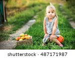 girl with apples in the garden. ... | Shutterstock . vector #487171987