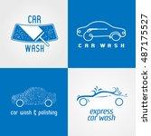 carwash  car wash set of vector ... | Shutterstock .eps vector #487175527