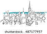 riga ancient panorama greeting... | Shutterstock .eps vector #487177957