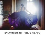beauty brunette model woman in... | Shutterstock . vector #487178797