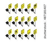 warning signs. set of vector... | Shutterstock .eps vector #487181407