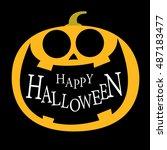 pumpkin jack o lantern icon ... | Shutterstock .eps vector #487183477