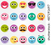 colorful smiley faces stickers... | Shutterstock . vector #487191697