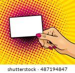 pop art background with female... | Shutterstock .eps vector #487194847