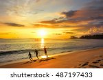 happy children playing on beach ... | Shutterstock . vector #487197433
