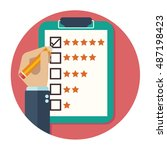 rating on customer service... | Shutterstock .eps vector #487198423