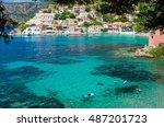 assos  kefalonia  greece. the... | Shutterstock . vector #487201723