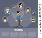 social network people and... | Shutterstock .eps vector #487203817