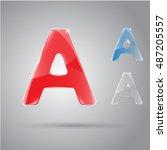 vector glossy letter. bright... | Shutterstock .eps vector #487205557
