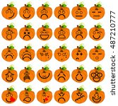 vector set of halloween... | Shutterstock .eps vector #487210777