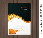 brochure with autumn leaves and ... | Shutterstock .eps vector #487219087