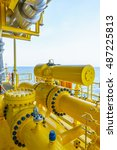 Small photo of Pipeline production and control valve for oil and gas process, Petroleum construction on offshore wellhead remote platform, Energy and petroleum industry is major of the world.
