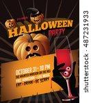 halloween party poster... | Shutterstock .eps vector #487231933
