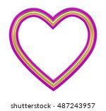 golden pink heart picture frame ... | Shutterstock . vector #487243957