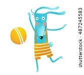 cartoon happy bunny playing... | Shutterstock .eps vector #487245583