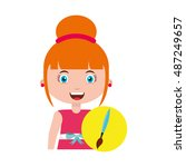girl character student with... | Shutterstock .eps vector #487249657
