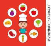 little chef kids menu vector... | Shutterstock .eps vector #487256167