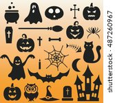 background with halloween black ... | Shutterstock .eps vector #487260967