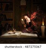 little fairy with magic wand... | Shutterstock . vector #487275367