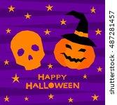 halloween pumpkin and skull... | Shutterstock .eps vector #487281457