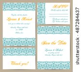 set of wedding cards with... | Shutterstock .eps vector #487284637