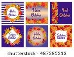 fall set. leaves composition... | Shutterstock .eps vector #487285213
