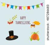 happy thanksgiving vector card... | Shutterstock .eps vector #487286683