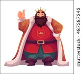 king wearing crown and mantle ... | Shutterstock .eps vector #487287343